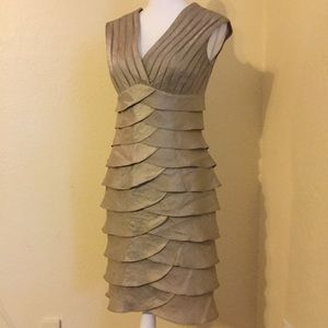 Jessica Howard Gold Colored Tiered Dress Size 6